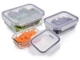 Bluespoon Frischhaltedosen Set aus Glas mit Deckeln aus Kunststoff 6 teilig | Ein Set für alle Fälle: 0,35 L 0,8 L 1,8 L Füllmenge | Hochwertige Multifunktionsschalen erleichtern die luftdichte Aufbewahrung Ihrer Dips und Speisen -