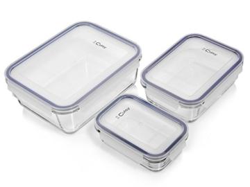 Bluespoon Frischhaltedosen Set aus Glas mit Deckeln aus Kunststoff 6 teilig   Ein Set für alle Fälle: 0,35 L 0,8 L 1,8 L Füllmenge   Hochwertige Multifunktionsschalen erleichtern die luftdichte Aufbewahrung Ihrer Dips und Speisen -