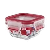 Emsa 513917 Frischhaltedose mit Deckel, Glas, Quadratisch, Volumen 0,2 Liter, Transparent/Rot, Clip & Close -