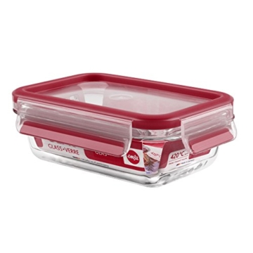 Emsa 513918 Frischhaltedose mit Deckel, Glas, Rechteckig, Volumen 0,5 Liter, Transparent/Rot, Clip & Close -