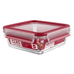 Emsa 513919 Frischhaltedose mit Deckel, Glas, Quadratisch, Volumen 0,9 Liter, Transparent/Rot, Clip & Close -