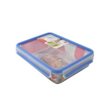 Emsa 513920 Frischhaltedose mit Deckel, Glas, Rechteckig, Volumen 1,3 Liter, Transparent/Rot, Clip & Close -