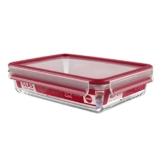Emsa 513921 Frischhaltedose mit Deckel, Glas, Rechteckig, Volumen 2 Liter, Transparent/Rot, Clip & Close -