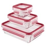 Emsa 514169 3-teiliges Frischhaltedosenset mit Deckel, Glas, Volumen 0.2, 0.5 und 1.3 Liter, Transparent/Rot, Clip & Close -