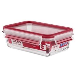 Emsa 516244 Frischhaltedose mit Deckel, Glas, Rechteckig, Volumen 0,7 Liter, Transparent/Rot, Clip & Close -