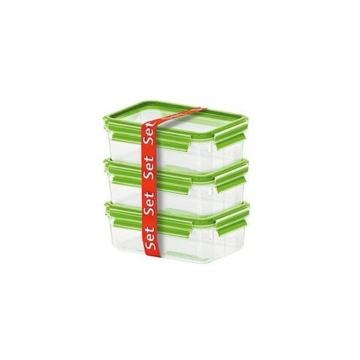 Emsa 516416 Clip und Close Glas, Frischhaltedose Set, hellgrün, 3 x 0,5 L, transparent, 17,5 x 12,5 x 5,9 cm -