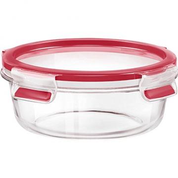 Emsa Runde Frischhaltedose mit Deckel, Glas, 0,6 Liter, Transparent/Rot, Clip & Close, 516242 -