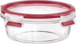 Esma Runde Frischhaltedose mit Deckel, Glas, 0,6 Liter, Transparent/Rot, Clip & Close, 516242 -