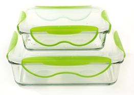 Glas Frischhaltedose 2er Set Lebensmittelbehälter luftdicht Spülmaschinenfest Mikrowellenfest -