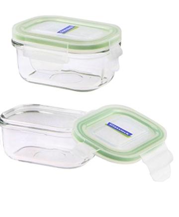 Glasslock (2x MCRB-015, 2x 150ml) Rechteckige Frischhaltedose aus Glas - Mikrowellen Typ -