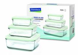 Glasslock Frischhaltedose 3er SET, rechteckig, (1x 400ml, 1x 1000ml, 1x 2000ml) GL-135 -