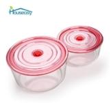 Houseasy Pyrex Glas Frischhaltedosen Set, Geeignet für Mikrowelle, Gefrierschrank und Spülmaschine, 2 Teile - Rot Deckel -