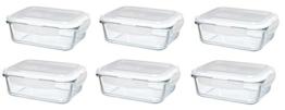 Original Glas Click´n Store Frischhaltedosen-Set 6 mal 1040 ml Inhalt #802242 rechteckig / 100% luft- und wasserdicht / hitzebeständig bis 400 Grad -