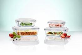 Original Glas Click´n Store Frischhaltedosen-Set 8tlg. #802250 rechteckig / 100% luft- und wasserdicht / hitzebeständig bis 400 Grad -