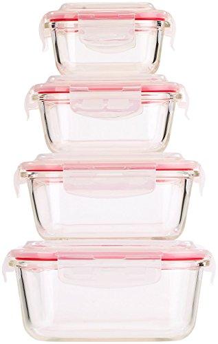 Rosenstein & Söhne 5in1 Glas XL-Frischhaltedosen-Set, 8-tlg, Clip-Deckel, -40 bis +400 C° -