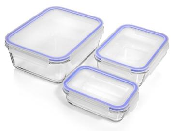 Sänger Frischhaltedosen Set aus Glas mit Deckeln aus Kunststoff 6 teilig | Ein Set für alle Fälle: 1,6/ 0,7/ 0,35 Liter Füllmenge -