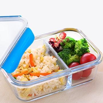 SELEWARE Lunchbox Kinder Glas mit Fächern Auslaufsicher Frischhaltedosen lock mit Deckel Mikrowellengeeignet 100% BPA frei Lebensmittelbehälter Groß Lebensmittelbox Frischhaltebox Bento Box Ofen Gefrierschrank Spülmaschine Safe für Erwachsene Rechteck Blau 1520ML -
