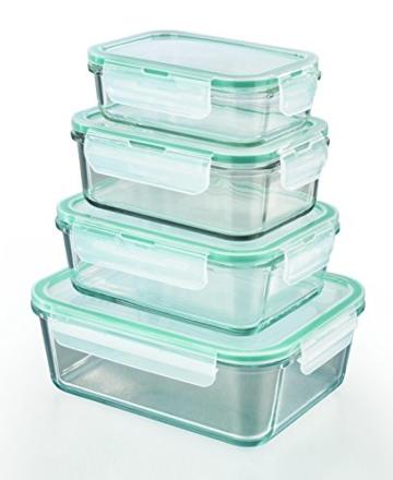TV Unser Original 01821 Gourmetmaxx Glas-Frischhaltedosen Klick-it, 8-teilig, Plastik, 21,5 x 16,5 x 8 cm, smaragdgrün -