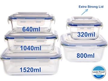 Vhari 5 Set Glas Lebensmittel Lagerbehälter * Airtight & Dicht * Backofen , Mikrowelle, Gefrierschrank und Spülmaschine Safe * 10 Stück (5 Glasbehälter + 5 BPA frei Lids ) * -