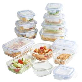 VonShef 12-teiliges Glasbehälter-Set zur Nahrungsmittelaufbewahrung mit Deckeln -