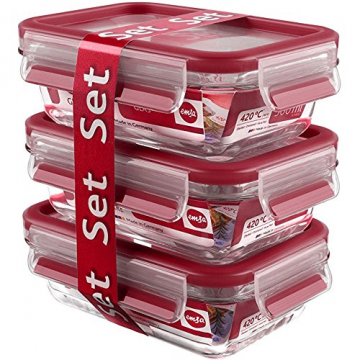 Emsa Clip & Close Glas 3-teilig Frischhaltedosen Set 3 x 0, 5 Liter, Kunststoff, rot, 17.5 x 12.5 x 17.8 cm, 3-Einheiten