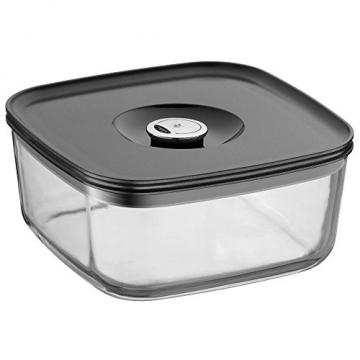 WMF Depot Fresh Vorrats-/Frischhaltedose, 19 x 19 cm, rechteckig, Glas, Vorratsglas, luftdichter Aroma-Deckel, Frische-Ventil, zum Vorbereiten, Aufbewahren und Servieren