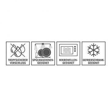 Glas-Frischhaltedosen 4er Set Glasbehälter mit luftdichten Frischeverschluss (1040, 980, 630, 370ml), Vorratsdosen Mikrowellen, Tiefkühl und Spühlmaschinen geeignet Multifunktions Schale Dose (BPA frei) -