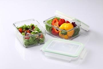 Glasslock GL-640 Rechteckige Frischhaltedose - Mikrowellen Typ, Glas, grün, 20 x 15.5 x 13.5 cm - 4