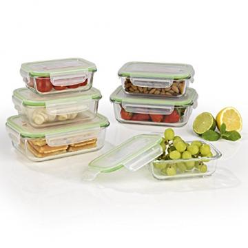 GOURMETmaxx Glas-Frischhaltedosen Klick-it 6 Dosen & 6 Luftdichte Deckel, Mikrowellen, Ofen und Gefrierschrank geeignet (-20 bis +330 °C) -Mikrowellenventil -