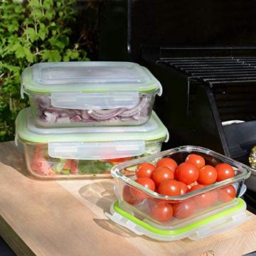 ProCook Ofenform aus Glas, Frischhaltebehälter mit Deckel, 3-teiliges Set -