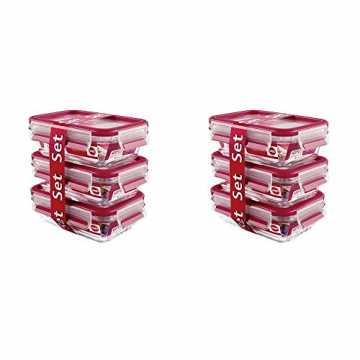 Emsa 517922 Clip & Close Glas 0,5ltr, Rot (2 x 3er Pack) - 1
