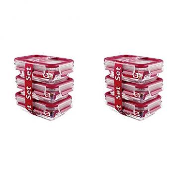 Emsa 517922 Clip & Close Glas 0,5ltr, Rot (2 x 3er Pack) - 1