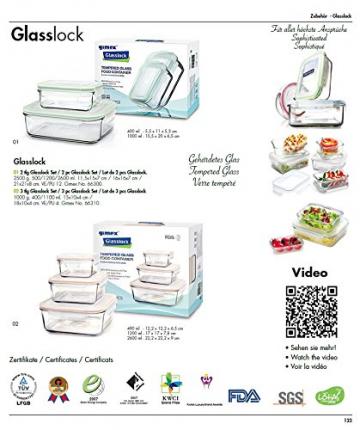 Gimex 6 teiliges GlassLock Frischhaltedosen Set aus Glas mit Deckel - 8