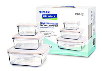 Gimex 6 teiliges GlassLock Frischhaltedosen Set aus Glas mit Deckel - 9