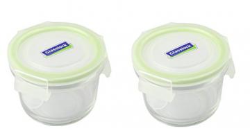 GLASSLOCK (2X MCCB-016, 2X 160ml Runde Vorratsdosen aus temperiertem Glas - Mikrowellen Typ - 1