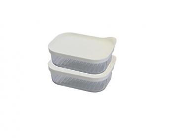 Glasslock (2X MCRB-048F, 2X 480ml Rechteckige Frischhaltedose aus Glas - Freezer Type (Weiß) - 1