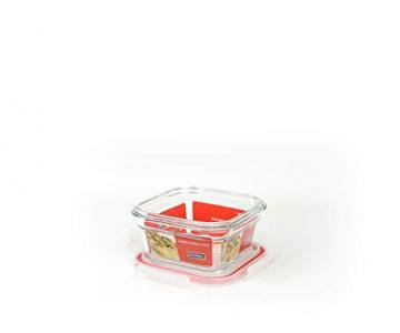 GLASSLOCK (2X OCST-040. 2X 400ml Rot Viereckige Vorratsdosen aus temperiertem Glas - Ofen Typ - 2