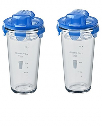 GLASSLOCK (2X PC-318-ML, 2X 450ml Blau, Shaker aus Glas - Shaker Typ - 1