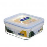Glasslock Frischhaltebehälter quadratisch (Fassungsvermögen/Höhe/Breite/Länge/Höhe mit Deckel: 900 ml / 7cm / 14 cm / 14 cm/ 6 cm) - 1