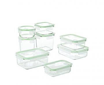 GLASSLOCK (GL-1729, 8-TLG Set Vorratsdosen aus temperiertem Glas mit Ventil Air Typ - Mikrowellen - 1