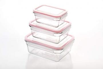 Glasslock (GL-529, 1x 480ml, 1x 970ml, 1x 1730ml) Rechteckige Frischhaltedose aus Glas - Ofen Typ - 2