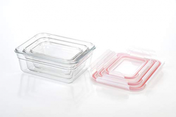 Glasslock (GL-529, 1x 480ml, 1x 970ml, 1x 1730ml) Rechteckige Frischhaltedose aus Glas - Ofen Typ - 3