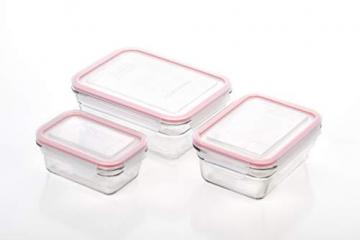 Glasslock (GL-529, 1x 480ml, 1x 970ml, 1x 1730ml) Rechteckige Frischhaltedose aus Glas - Ofen Typ - 4