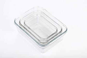Glasslock (GL-529, 1x 480ml, 1x 970ml, 1x 1730ml) Rechteckige Frischhaltedose aus Glas - Ofen Typ - 6