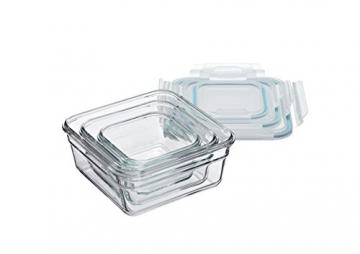 Glasslock (GL-530, 1x 405ml, 1x900ml, 1x1650ml) Viereckige Frischhaltedose aus Glas - Ofen Typ - 3