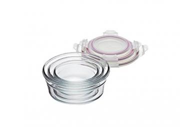 Glasslock GL-531 1x 450ml, 1x 850ml, 1x 1480ml; Runde Frischhaltedose aus Glas - Oven Typ, Glas, Pink, 19.5 x 19.5 x 9 cm - 3