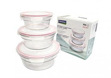 Glasslock GL-531 1x 450ml, 1x 850ml, 1x 1480ml; Runde Frischhaltedose aus Glas - Oven Typ, Glas, Pink, 19.5 x 19.5 x 9 cm - 1
