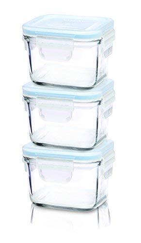 Glasslock GL-544 Viereckige Frischhaltedose - Baby Set Typ, Glas, blau, 9 x 9 x 20 cm - 2