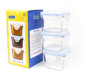 Glasslock GL-544 Viereckige Frischhaltedose - Baby Set Typ, Glas, blau, 9 x 9 x 20 cm - 1