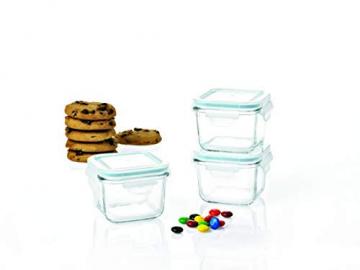 Glasslock GL-544 Viereckige Frischhaltedose - Baby Set Typ, Glas, blau, 9 x 9 x 20 cm - 5